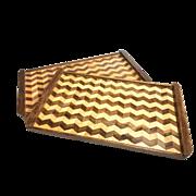 Vintage Midcentury Set Of Two Handmade Geometric Design Wood Trays / Charcuterie Boards