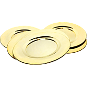 Set of 6 Vintage Midcentury Shiny Gold Aluminum Charger Plates