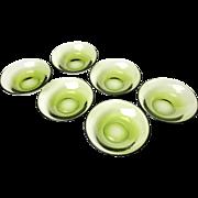 Vintage Midcentury Set Of Six Green Glass Bowls