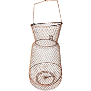 Large Vintage Wire Mesh Collapsible Hanging French Kitchen Basket