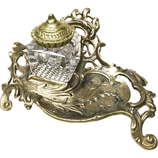Antique Brass Inkwell Stand With Glass Ink Holder, by Virginia Metalcrafters