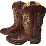 Vintage Justins Leather Western Mens Boots