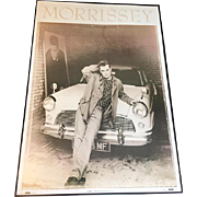 """Authentic Framed Vintage Morrissey """"Leaning Car"""" Poster Printed in Manchester England In 1991"""