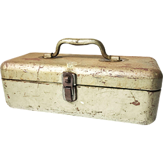 "Vintage Midcentury ""My Buddy"" Metal Tool Box / Tackle Box"