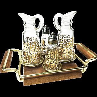 Vintage 1950s Anchor Hocking Oil & Vinegar Cruet Set
