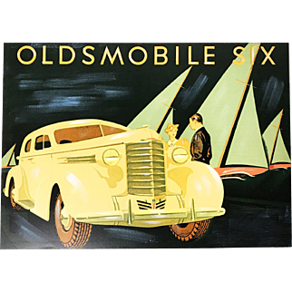 Vintage Art Deco Painting on Canvas From a 1937 Oldsmobile Brochure