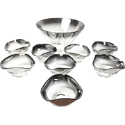 Midcentury Serving Set of Silver Mercury Ombre Glass Bowls