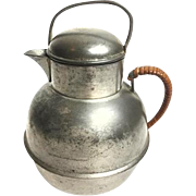 Vintage Pewter Creamer With Lid and Rattan Wrapped Handle