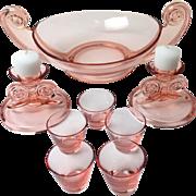 8 Piece Pink Depression Glass Set