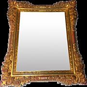 Large Vintage Ornate Hand Carved Wooden Mirror