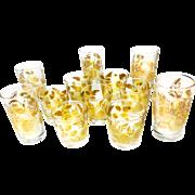 Midcentury 12 Piece Set of Culver-Style Glassware With Sunflower Design