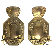 Antique Pair Of Hand-Made Swedish Brass Sconces