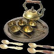 Vintage Midcentury Handmade Brass and Wood Tea Set