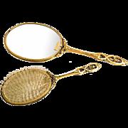 Vintage Midcentury 24K Gold Plated Mirror / Brush Vanity Set