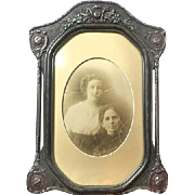 Antique Victorian Wooden Picture Frame with Convex Glass