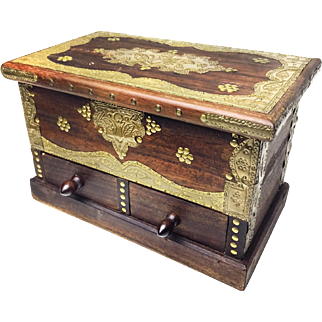 Antique Eastern European Jewelry Box, Hand Made From Quality Heavy Wood And Hammered Brass (has a secret compartment behind drawers!)
