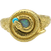 18k Gold Hand-Carved Opal Snake Ring