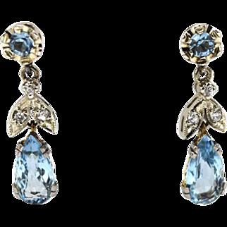 Edwardian White & Yellow Gold Aquamarine Earrings