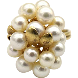 Vintage Pearl Cluster Grape Ring