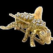 14k Gold Diamond Bee Pin