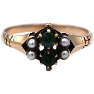 Victorian Emerald & Seed Pearl Ring