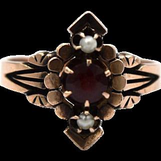Victorian Garnet & Seed Pearl Ring