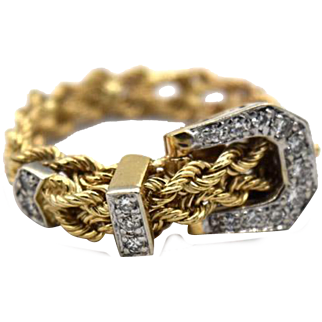 Yellow Gold Diamond Buckle Ring
