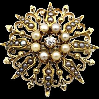 Victorian Seed Pearl & Diamond Pin/Pendant