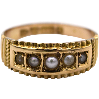 Victorian English 15k Gold Pearl Band