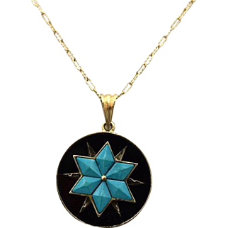 Victorian 14k Gold Onyx & Turquoise Pendant With Chain