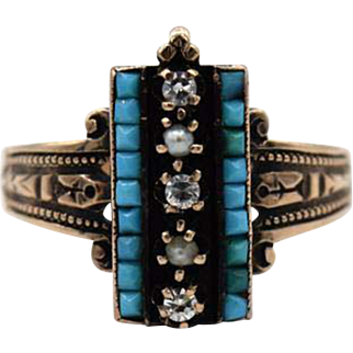 Victorian Turquoise, Pearl, & Diamond Ring