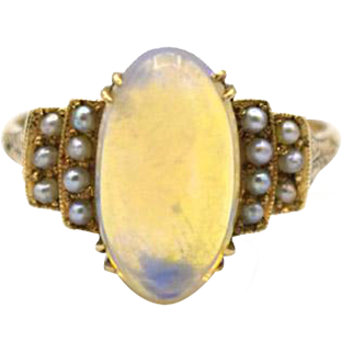 Victorian Opal & Seed Pearl Ring