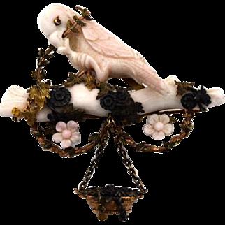 Victorian 14k Gold & Silver Coral Bird Pin