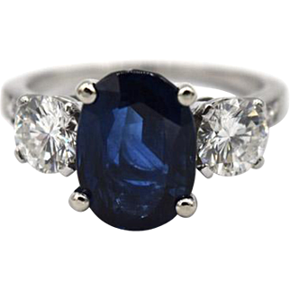 Platinum Tiffany & Co. 3.57 Ct Sapphire & Diamond Ring