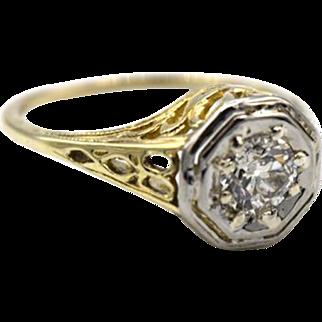 Deco-Style Old European Cut Filigree Diamond Ring