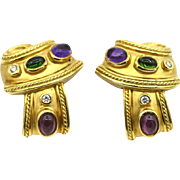 SeidenGang 18k Yellow Gold Tourmaline & Diamond Earrings