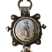 PAYSAN FRANCAIS, One of a Kind RARE FRENCH HAND PAINTED Chatelaine Clip, Silver Apostles Cross, Cultured Pearl Artisan Necklace