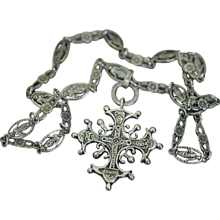 PERUZZI Hallmarked Sterling Silver Renaissance Heart Cross with Andrea della Robbia Swadelled Infant and FLoral Links Chain Necklace