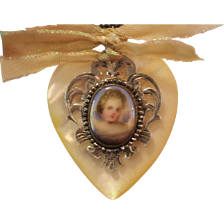 GOD,S TINIEST ANGEL! One of a Kind Gorgeous RARE French Cut Steel Bead Framed Hand Painted Mop CHERUB CAMEO, Cultured Pearls, Angel Wings, Silver Heart Fob, Mop Heart Artisan Necklace