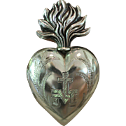 PRECIOUS French Hallmarked Solid Silver PETITE Flaming Sacred Heart EX VOTO
