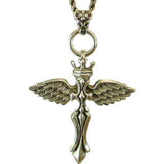 G. CINI RARE Hallmarked Sterling Silver Renaissance CROWNED ANGEL WING CROSS with Sterling Silver Rope Chain Necklace