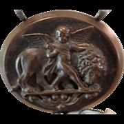 ARIEL! One of a Kind RARE Gutta Percha ARCHANGEL CAMEO, Carved Bog Oak Paste Heart Pendant, Sterling Silver Onyx Gemstone ARTISAN Necklace