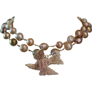 HOLY DOVE, One of a Kind RARE ST. ESPRIT Angel Skin Coral Dove Pendant, Rainbow and Pink Colored Cultured Pearl ARTISAN Wrap Necklace