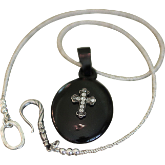 The DEAR ONE, One of a Kind RARE PASTE CROSS Natural JET Mourning LOCKET, French Cut Bead Necklace