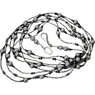 SILVER SOLACE, One of a Kind GREY Cultured Pearl, French Diamond Cut Steel Bead, Black Cultured Pearl, Cultured Seed Pearls, Black Spinel Gem, Rhinestone Bead ARTISAN WRAP NECKLACE