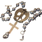 MON DOUX ANGE, One of a Kind French Art Nouveau Archangel Brooch, Solid Silver Engraved Nun Cross, Cultured Pearls ARTISAN Necklace