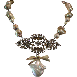 PASTE & PEARLS, One of a Kind RARE Old Large Faceted Paste Brooch, Baroque Cultured Pearl, Huge Cultured Pearl Pendant Artisan Necklace