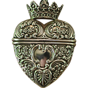 BELOVED CROWNED HEART, One of a Kind Stunning Antique Sterling Silver RARE FOSTER BAILEY Repousse Crowned Heart Locket, Huge Cultured Baroque Kasumi Pearl Artisan Necklace