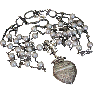 PARADIS, One of a Kind French Chatelaine CROWNED HEART LOCKET, Dove Grey Cultured PEARLS, PERUZZI Connectors, ROCK CRYSTAL Connectors ARTISAN Triple Chain Necklace