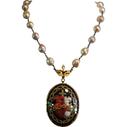 ENTWINED HEARTS, One of a Kind Old FRENCH Monastary Nun,s Double SACRED HEART EX VOTO, Angel Wing Watch CLIP, Cultured Pearl Artisan Necklace.